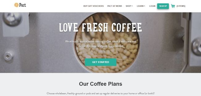 online store - pact coffee