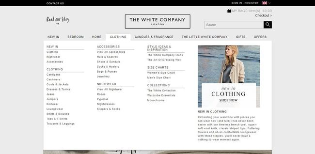 online store - the white company