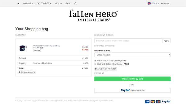 online store - Fallen Hero
