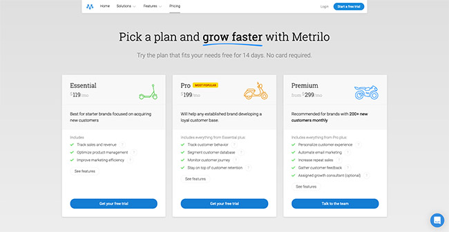 Shopify ecommerce CRM - Metrilo Pricing