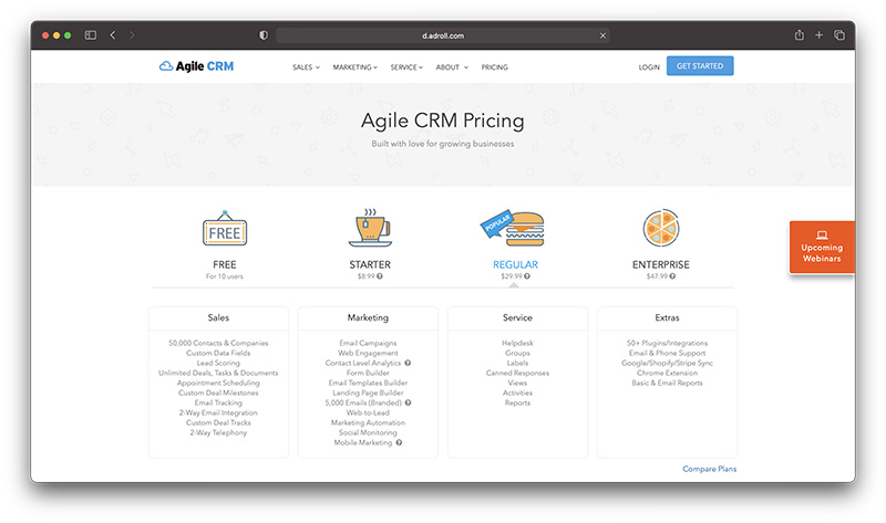 Shopify ecommerce CRM - agile crm pricing
