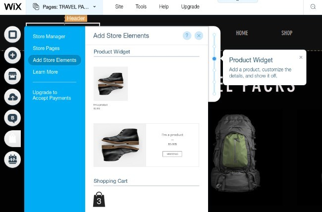 WIX ecommerce drag and drop