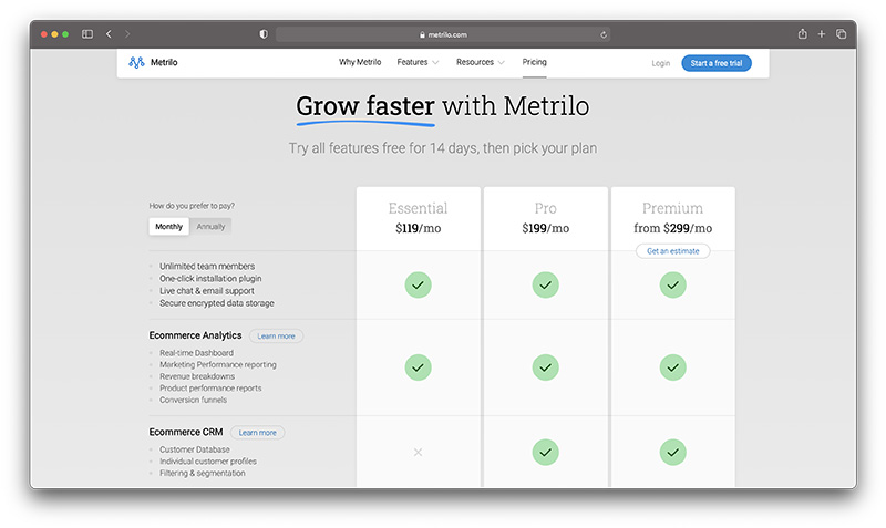 metrilo crm pricing - shopify ecommerce crm