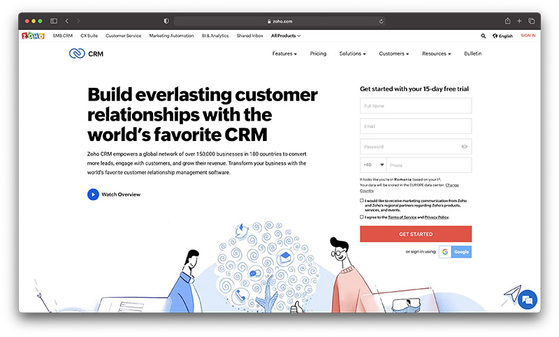 Shopify ecommerce CRM - Zoho
