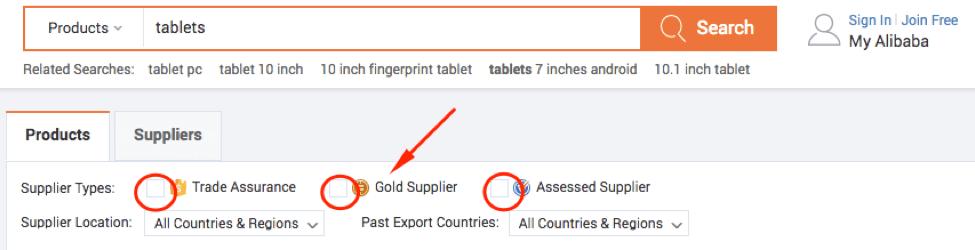 Gold Suppliers Screencap