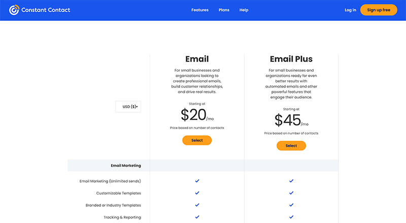 mailchimp vs constant contact - Constant Contact pricing
