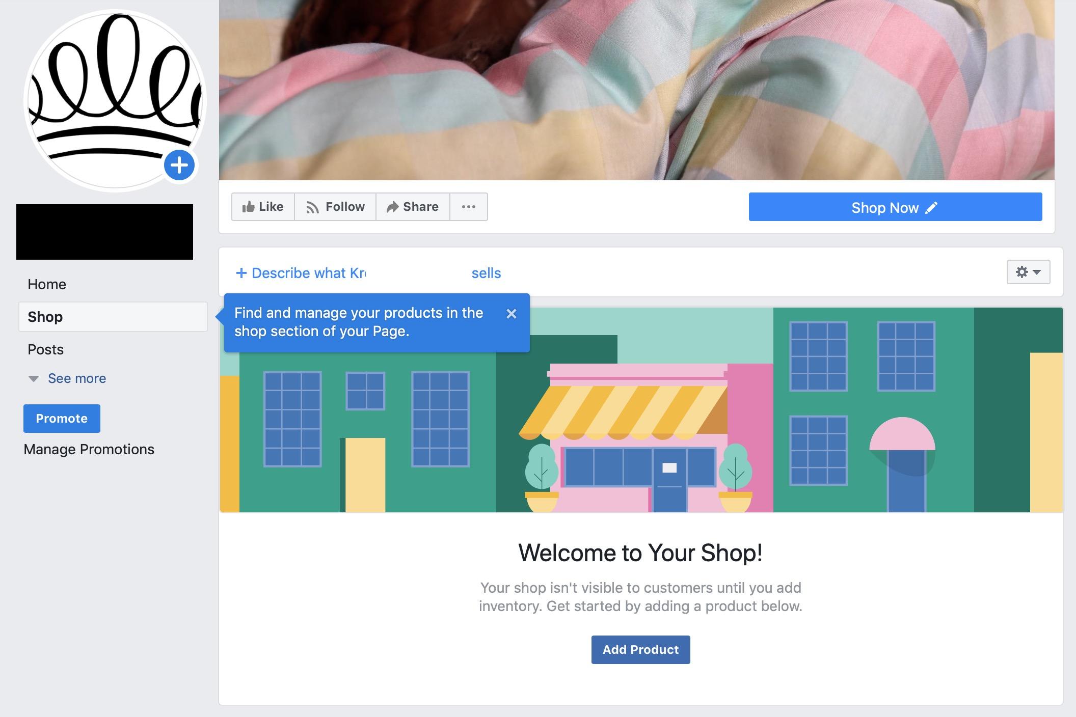 Facebook Shopping: Empty Facebook Store
