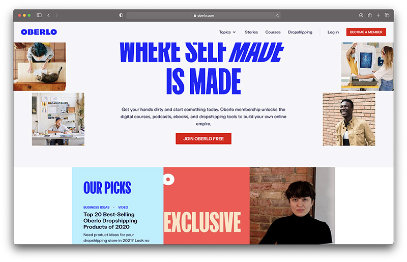 Aliexpress Dropshipping - oberlo homepage