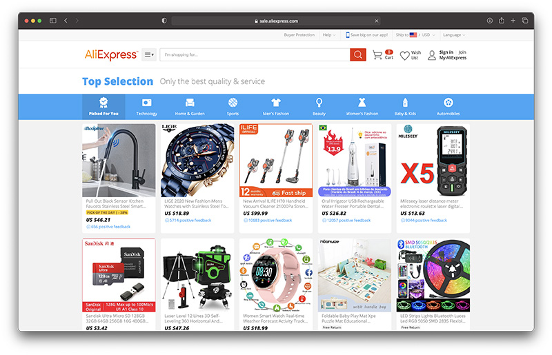 what is aliexpress top selection