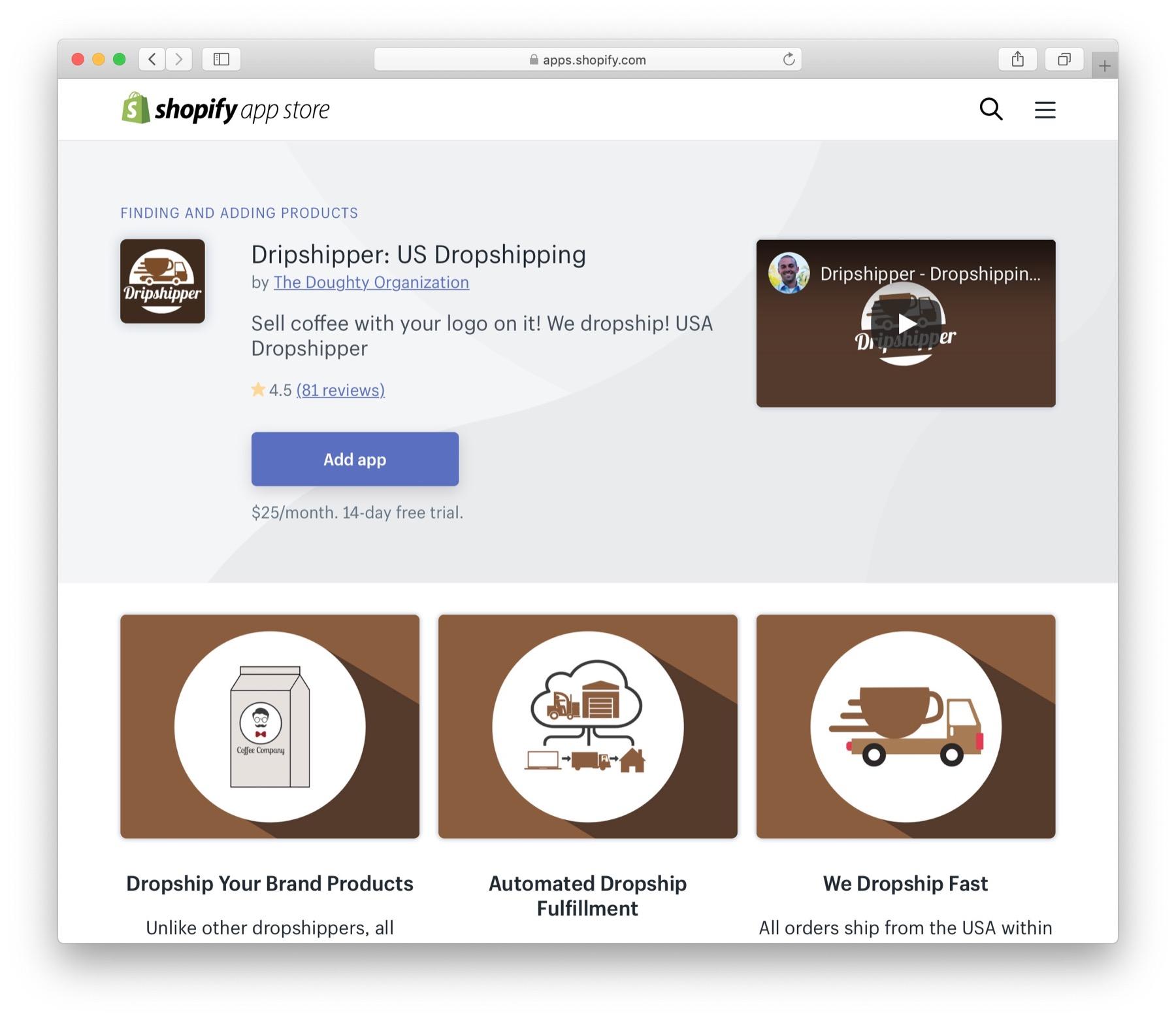 Dripshipper dropshipping app