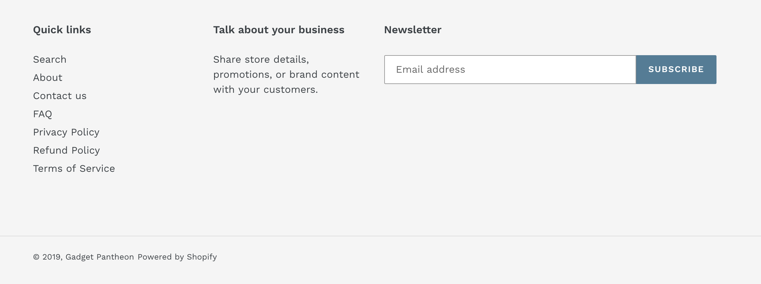 shopify footer
