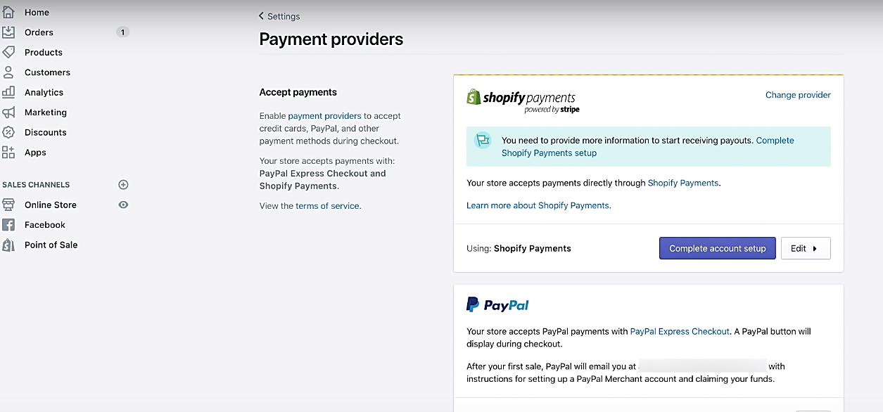 Shopify Fornidores de pagamento