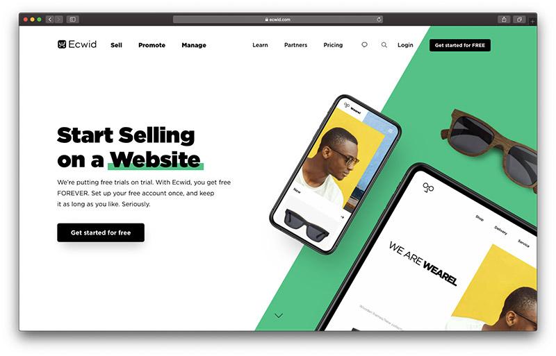 best ecommerce platform ecwid homepage