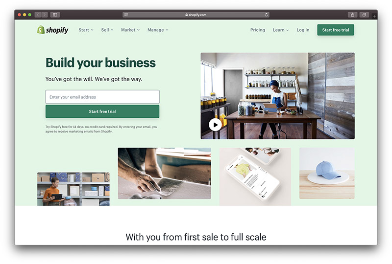 Screen shot of Shopify home page promoting a free trail illustrated with ecommerce pictures