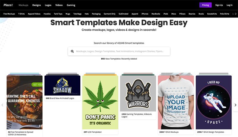 placeit reviews - homepage