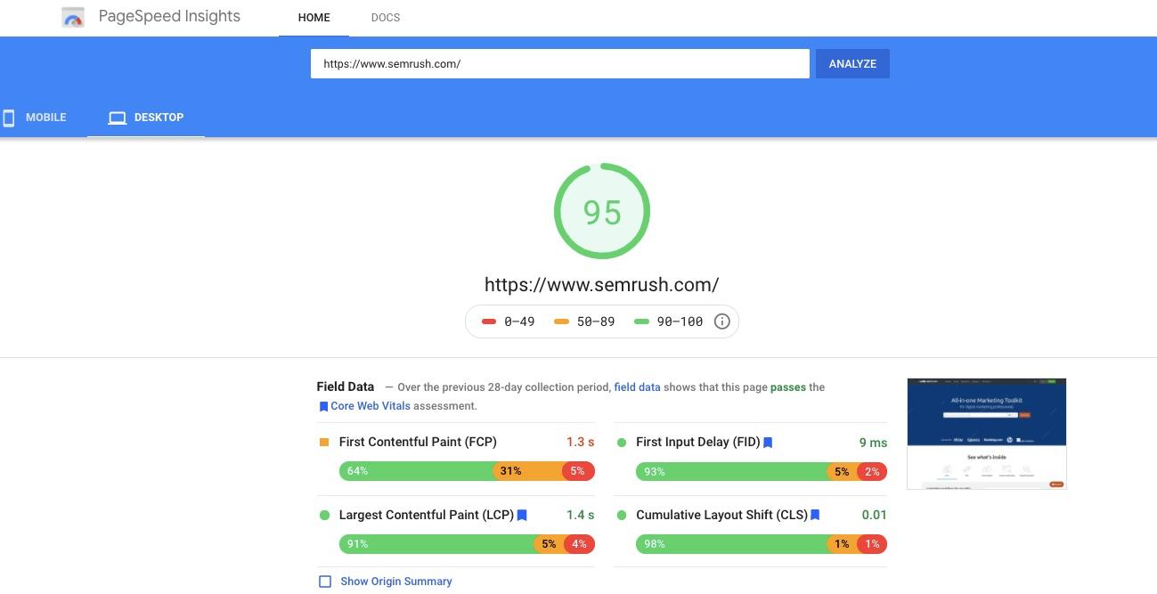 رؤى سرعة صفحة جوجل semrush