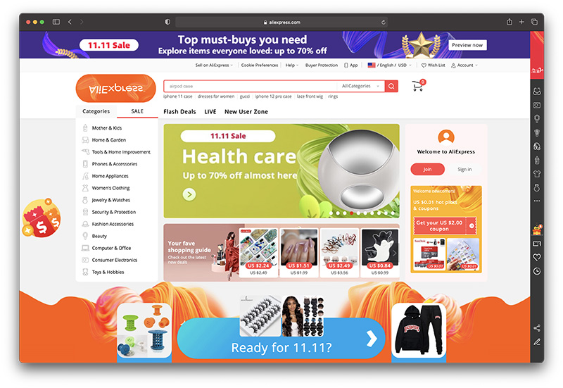 aliexpress review - homepage
