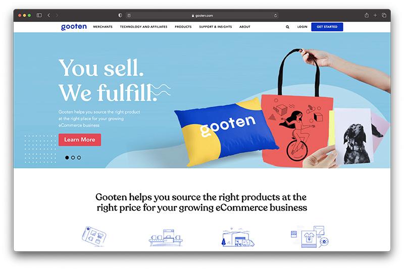 gooten homepage - gooten vs printful