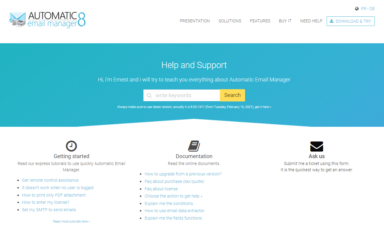 automaic emal manager - help and support